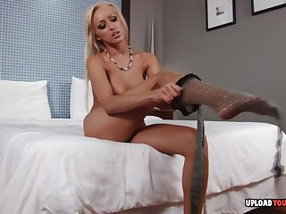 Perfect blonde uses her amazing naked feet