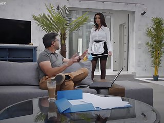 Provocative maid Alyssia Kent in stockings and lingerie having sex