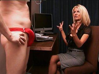 Dick stroking by mature secretary Tia Layne who loves dick milk