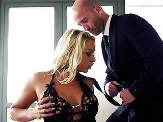 Guy in suit fucks classy MILF while playing dominant with her