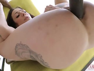 Gorgeous white brunette with big, firm tits, Harlow Harrison had anal sex with a black guy