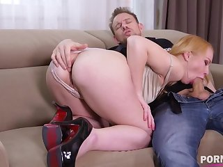 Delivery guy crams young bombshell Rebecca Sharon's tight ass with fat cock GP1052