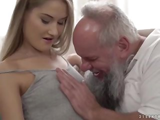 Nubile ultra-cutie vs older grandfather - Tiffany Tatum and Albert