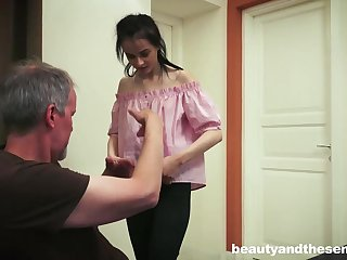 Dark haired honey knows how to convenience her neighbor next door, when he struggles with his wifey