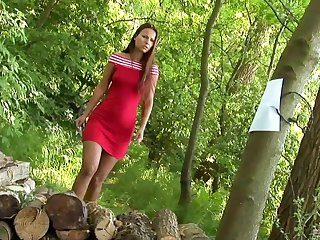Claudia Rossi gets her ass fucked by a masked man in the forest