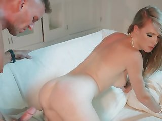 Slender housewife cheats on hubby with his new caddy