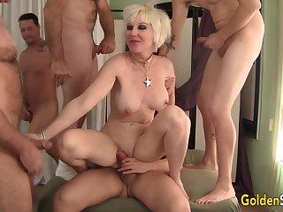 Granny Dalny Marga Five Man Gangbang
